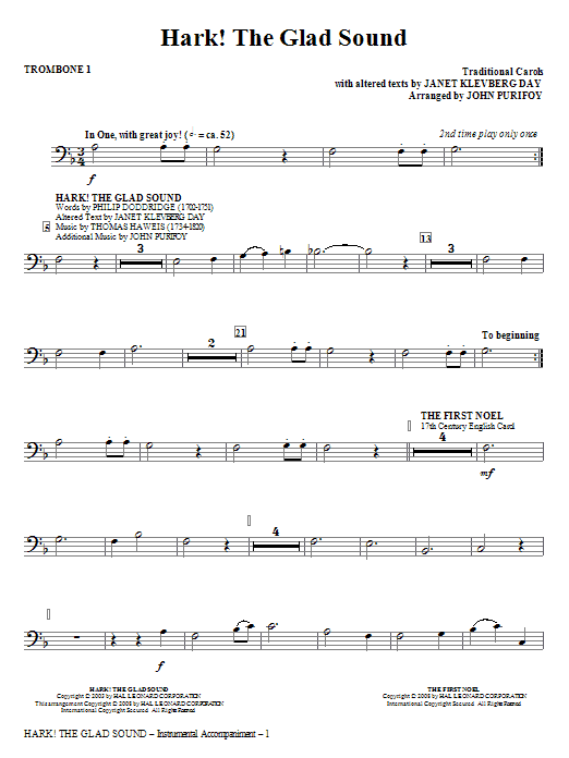 John Purifoy Hark! The Glad Sound (Medley) - Trombone 1 sheet music notes and chords. Download Printable PDF.