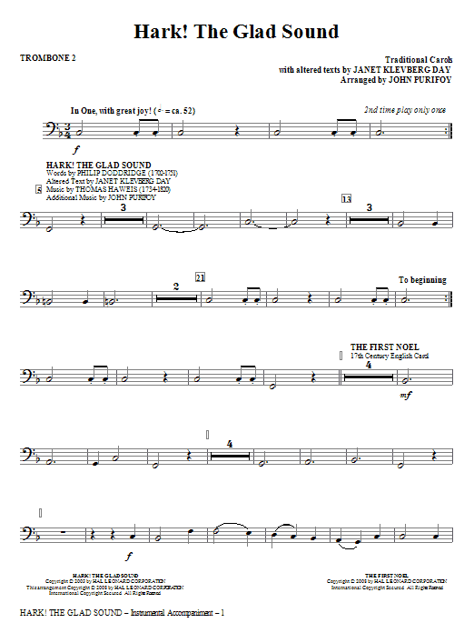 John Purifoy Hark! The Glad Sound (Medley) - Trombone 2 sheet music notes and chords. Download Printable PDF.