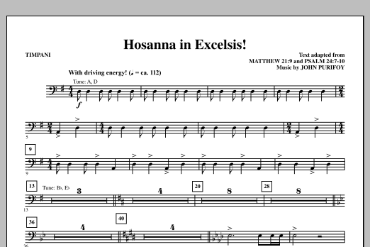 John Purifoy Hosanna in Excelsis! - Timpani sheet music notes and chords. Download Printable PDF.