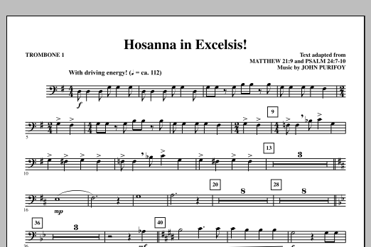 John Purifoy Hosanna in Excelsis! - Trombone 1 sheet music notes and chords. Download Printable PDF.