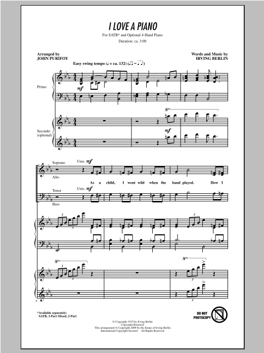 Irving Berlin I Love A Piano (arr. John Purifoy) sheet music notes and chords. Download Printable PDF.