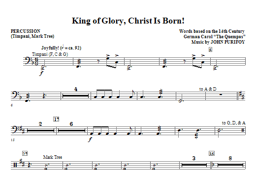 John Purifoy King Of Glory, Christ Is Born! - Percussion sheet music notes and chords. Download Printable PDF.