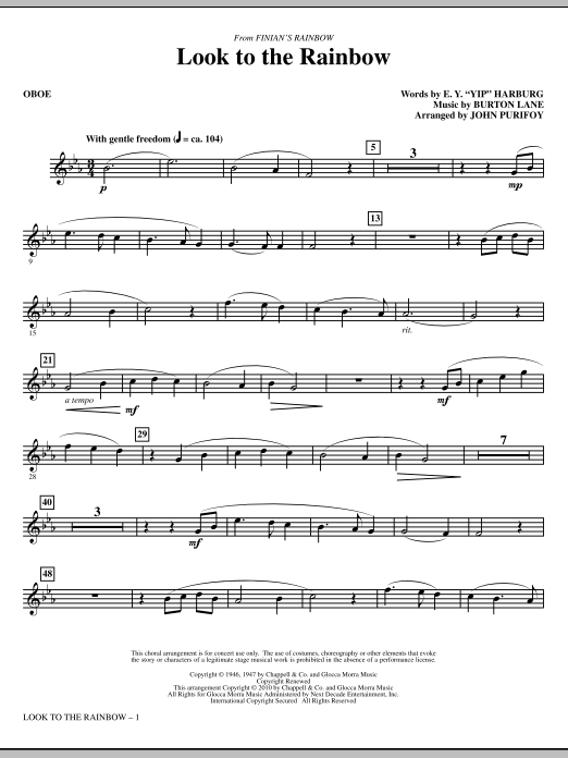 John Purifoy Look To The Rainbow (from Finian's Rainbow) - Oboe sheet music notes and chords. Download Printable PDF.