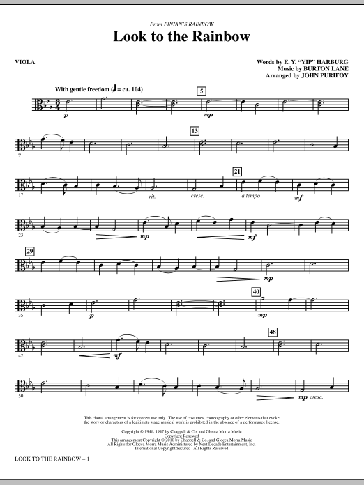 John Purifoy Look To The Rainbow (from Finian's Rainbow) - Viola sheet music notes and chords. Download Printable PDF.