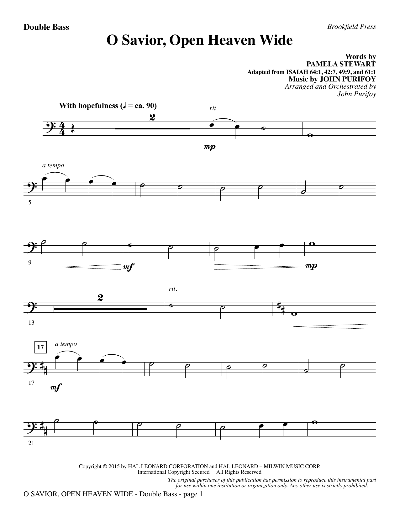 John Purifoy O Savior, Open Heaven Wide - Double Bass sheet music notes and chords. Download Printable PDF.