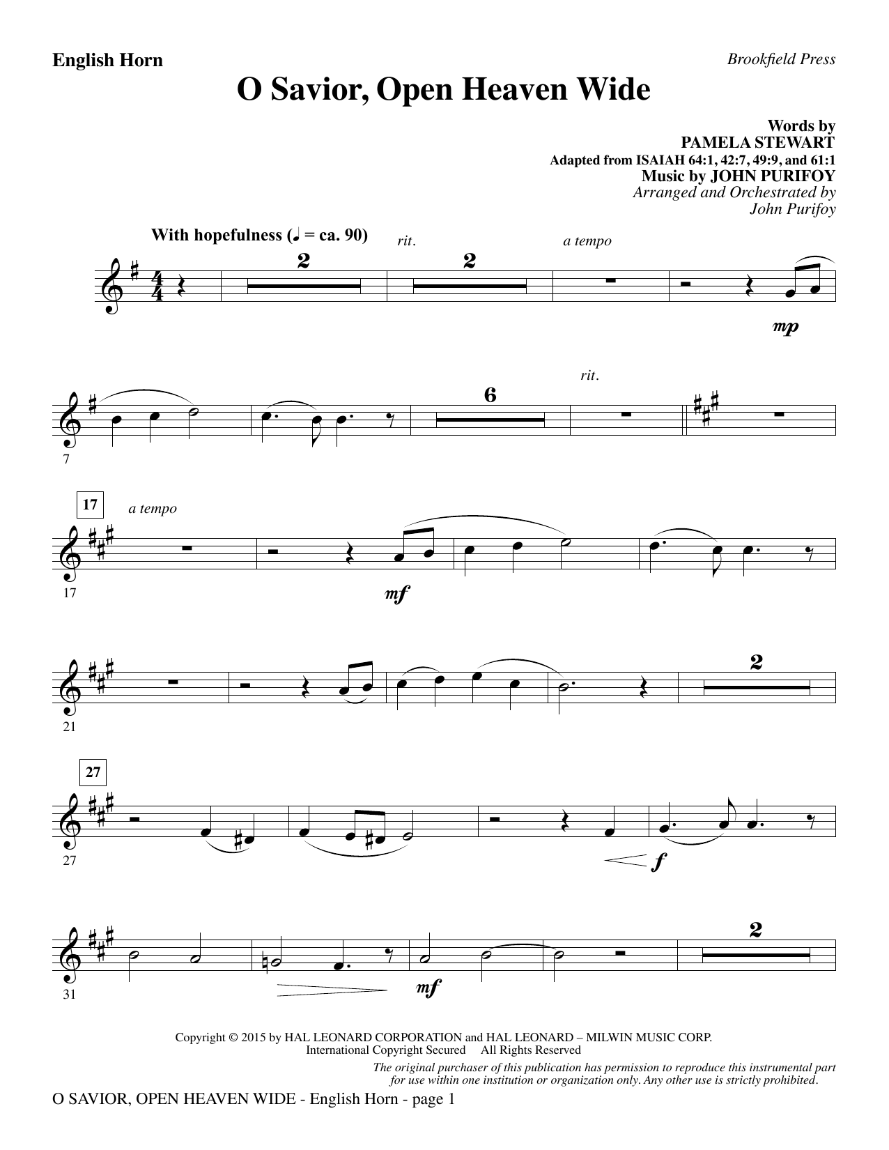 John Purifoy O Savior, Open Heaven Wide - English Horn sheet music notes and chords. Download Printable PDF.