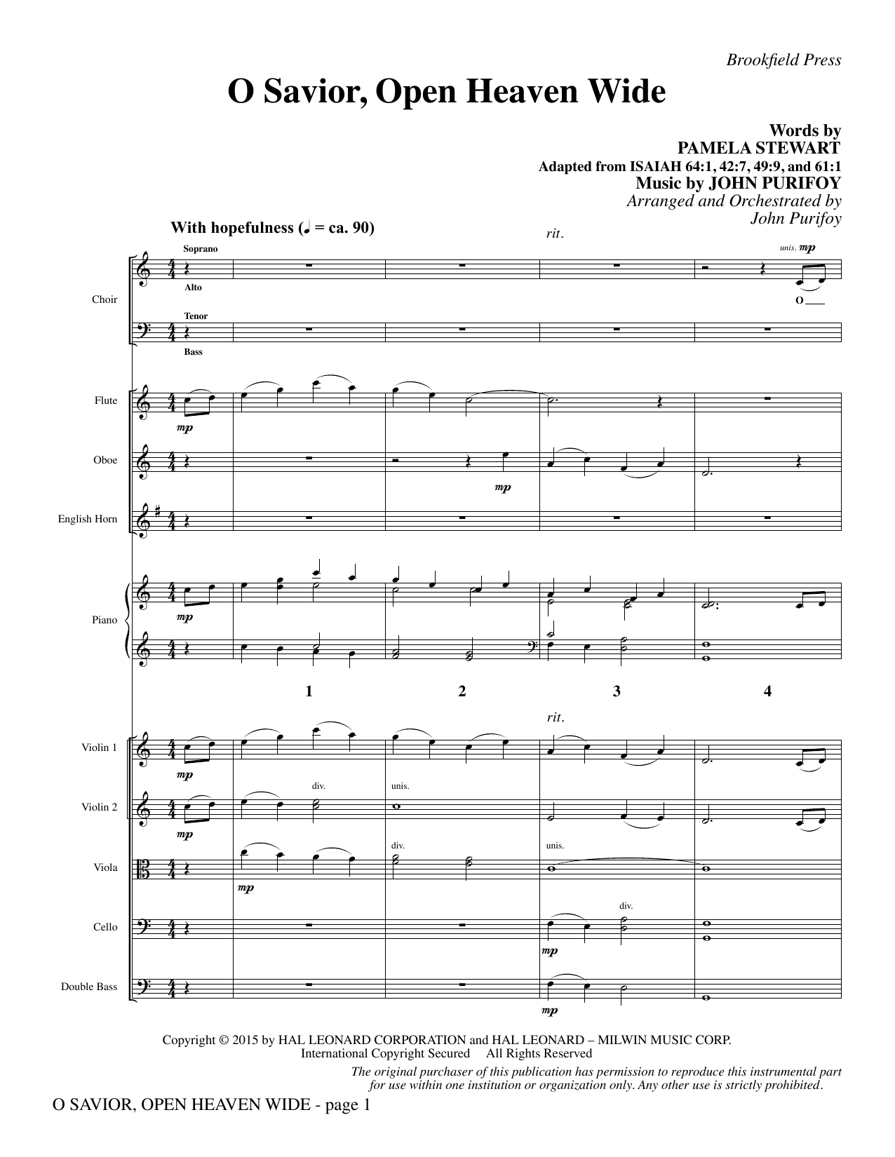 John Purifoy O Savior, Open Heaven Wide - Full Score sheet music notes and chords. Download Printable PDF.