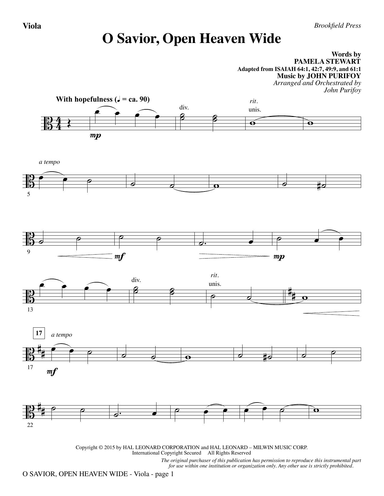 John Purifoy O Savior, Open Heaven Wide - Viola sheet music notes and chords. Download Printable PDF.