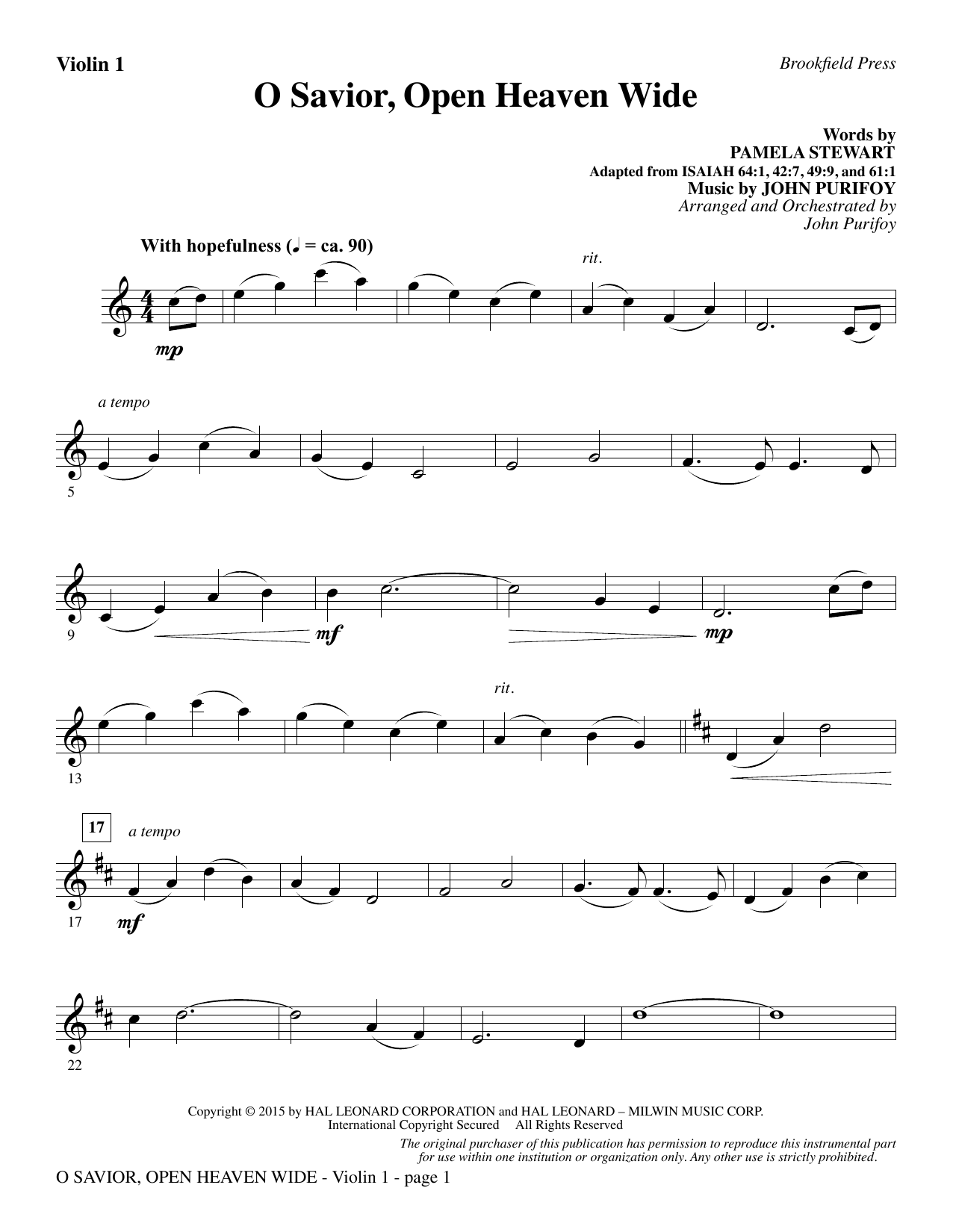 John Purifoy O Savior, Open Heaven Wide - Violin 1 sheet music notes and chords. Download Printable PDF.