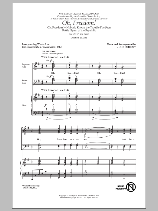 John Purifoy Oh, Freedom! (Medley) sheet music notes and chords. Download Printable PDF.