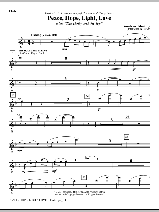 John Purifoy Peace, Hope, Light, Love (with The Holly And The Ivy) - Flute sheet music notes and chords. Download Printable PDF.