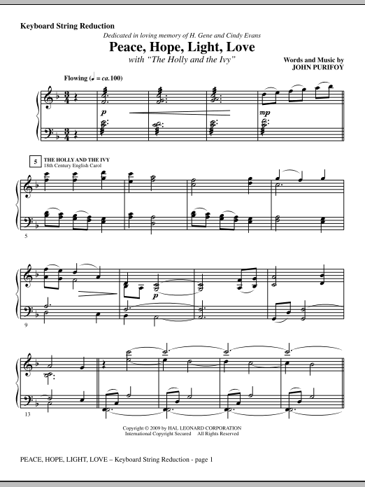 John Purifoy Peace, Hope, Light, Love (with The Holly And The Ivy) - Keyboard String Reduction sheet music notes and chords. Download Printable PDF.