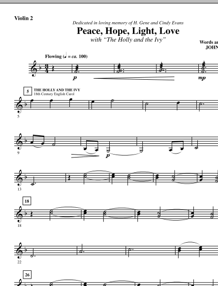 John Purifoy Peace, Hope, Light, Love (with The Holly And The Ivy) - Violin 2 sheet music notes and chords. Download Printable PDF.