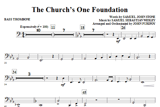 John Purifoy The Church's One Foundation - Bass Trombone sheet music notes and chords. Download Printable PDF.