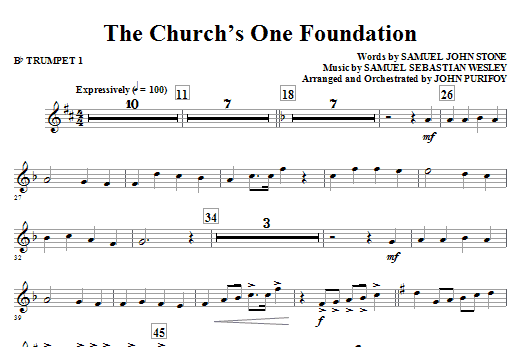 John Purifoy The Church's One Foundation - Bb Trumpet 1 sheet music notes and chords. Download Printable PDF.
