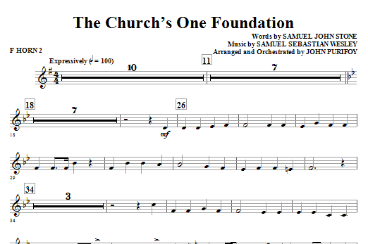 John Purifoy The Church's One Foundation - F Horn 2 sheet music notes and chords. Download Printable PDF.