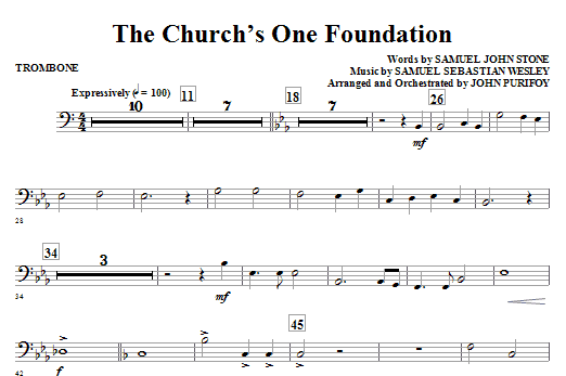 John Purifoy The Church's One Foundation - Trombone sheet music notes and chords. Download Printable PDF.