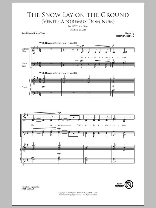 John Purifoy The Snow Lay On The Ground Venite Adoremus Dominum Sheet Music Pdf Notes Chords Christmas Score Sab Choir Download Printable Sku 99495