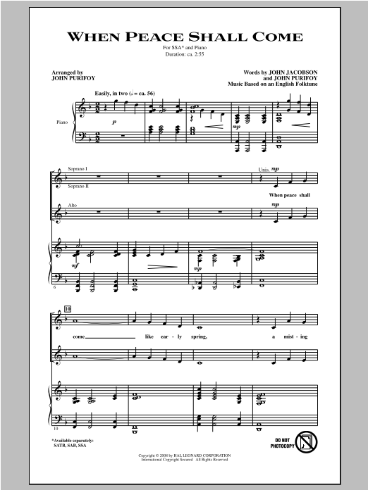 John Purifoy When Peace Shall Come sheet music notes and chords. Download Printable PDF.