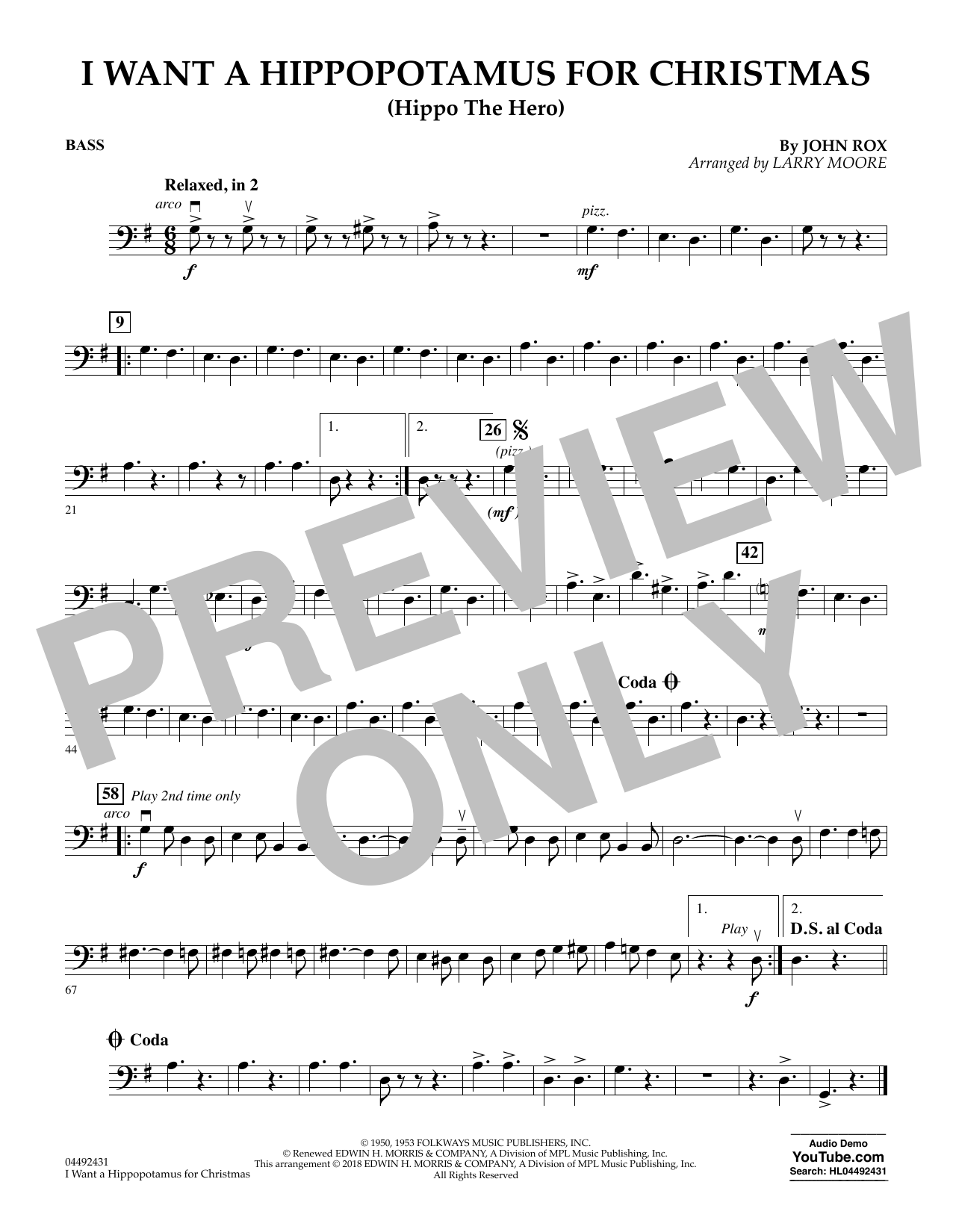 John Rox I Want A Hippopotamus For Christmas (arr. Larry Moore) - Bass sheet music notes and chords. Download Printable PDF.