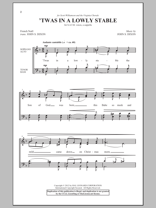 John S. Dixon 'Twas In A Lowly Stable sheet music notes and chords. Download Printable PDF.