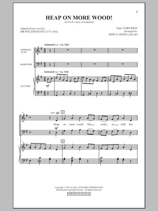 John S. Dixon Heap On More Wood sheet music notes and chords. Download Printable PDF.