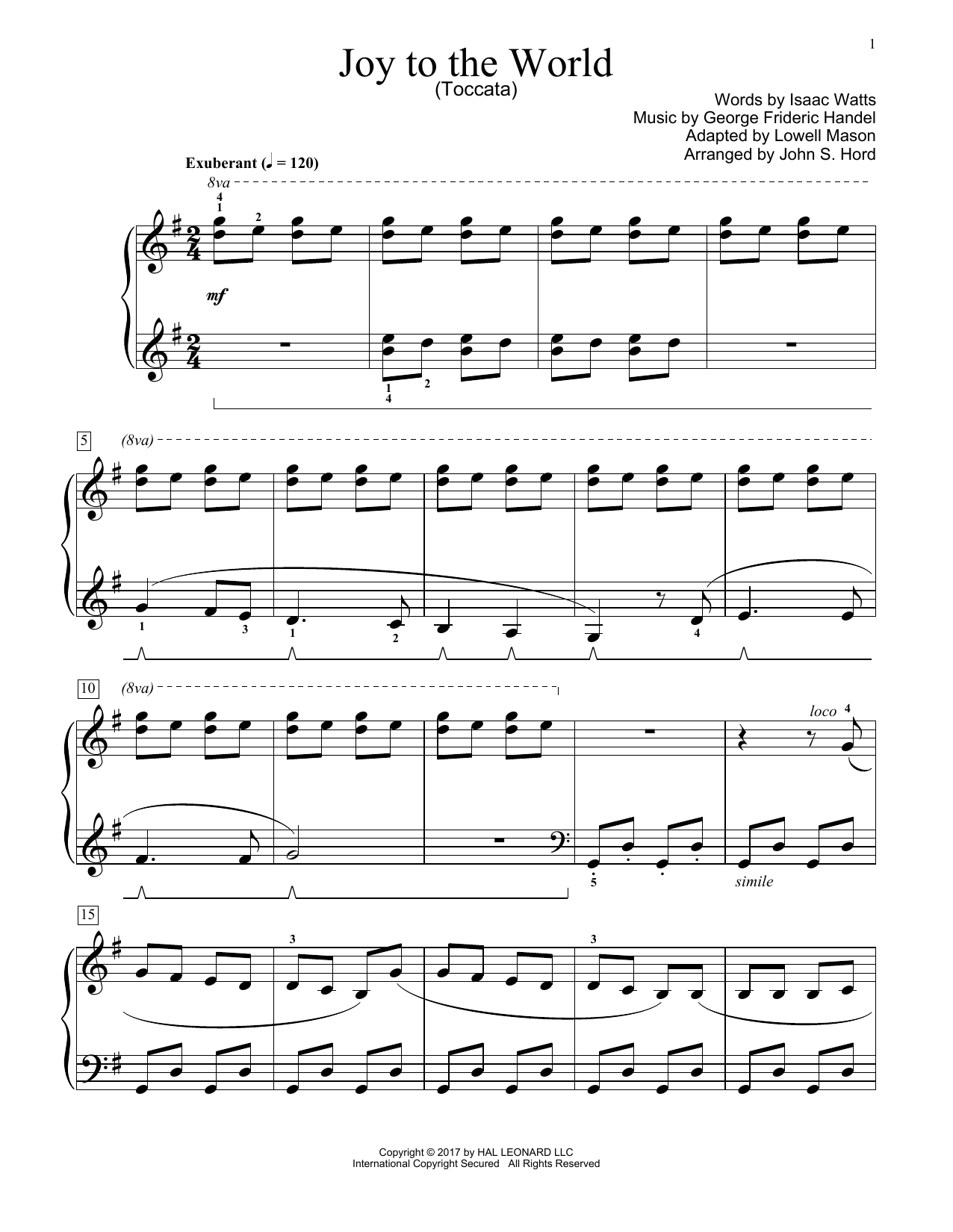 John S. Hord Joy To The World sheet music notes and chords. Download Printable PDF.