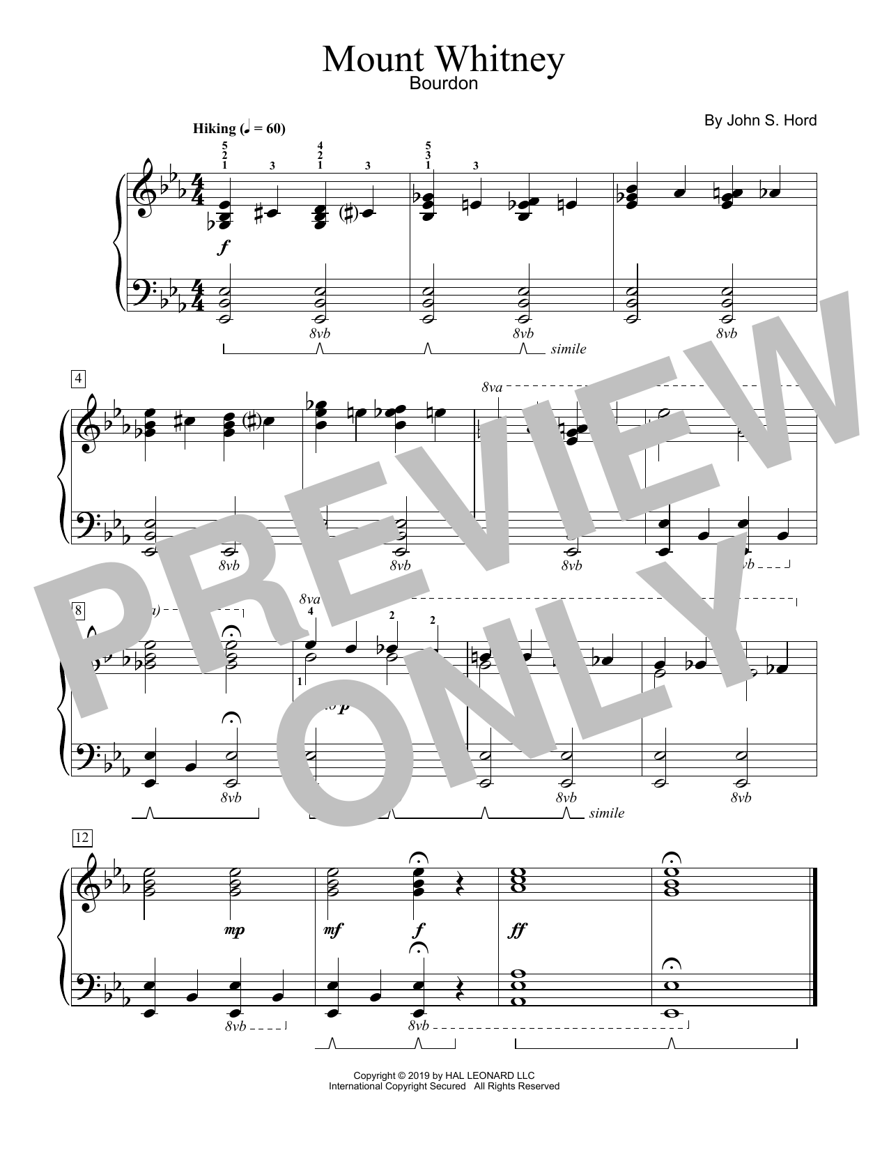 John S. Hord Mount Whitney sheet music notes and chords. Download Printable PDF.