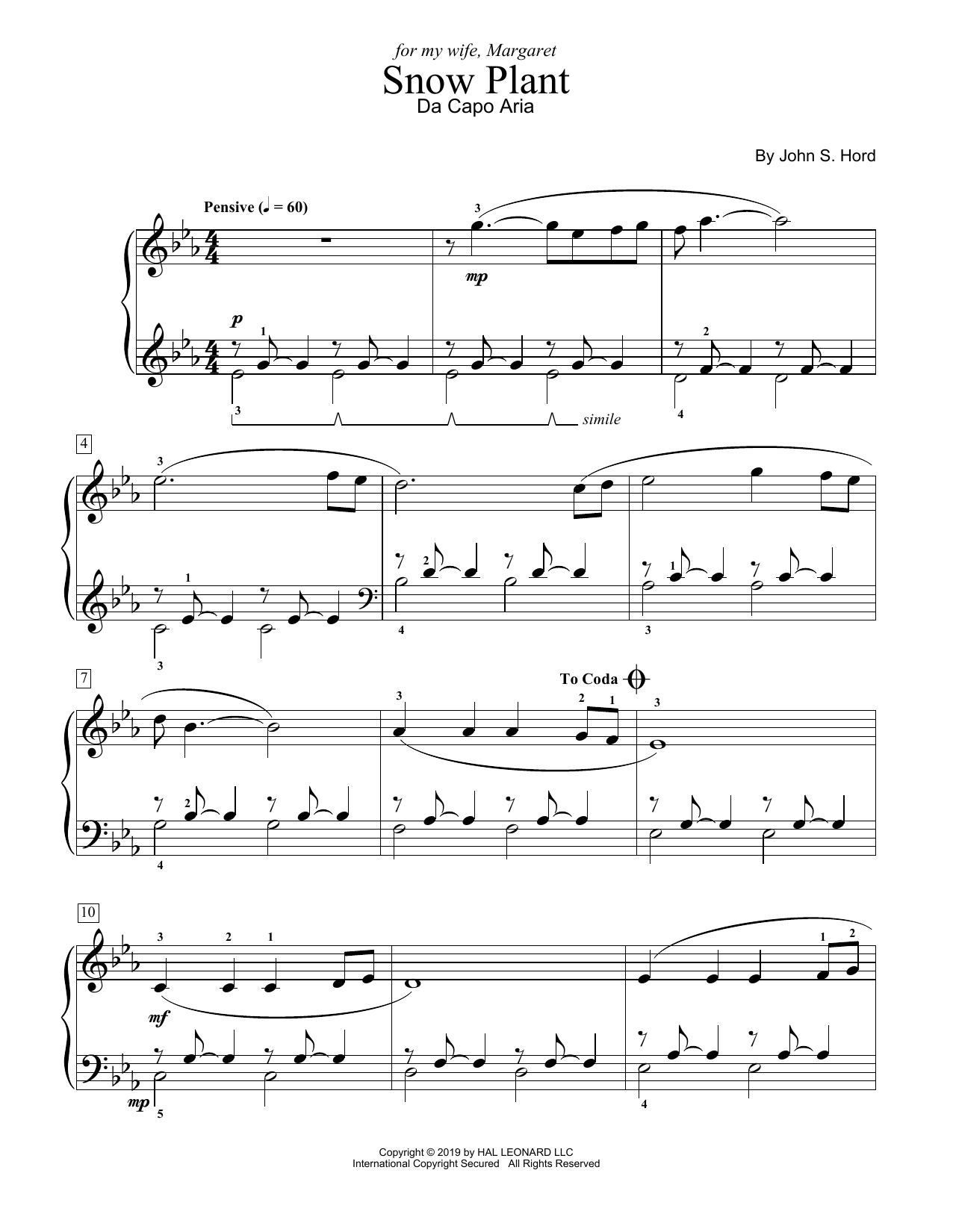 John S. Hord Snow Plant sheet music notes and chords. Download Printable PDF.
