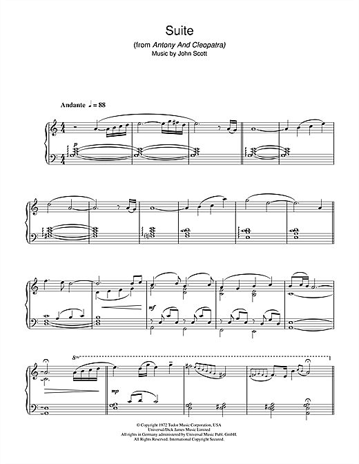 John Scott Suite (from Antony And Cleopatra) sheet music notes and chords. Download Printable PDF.