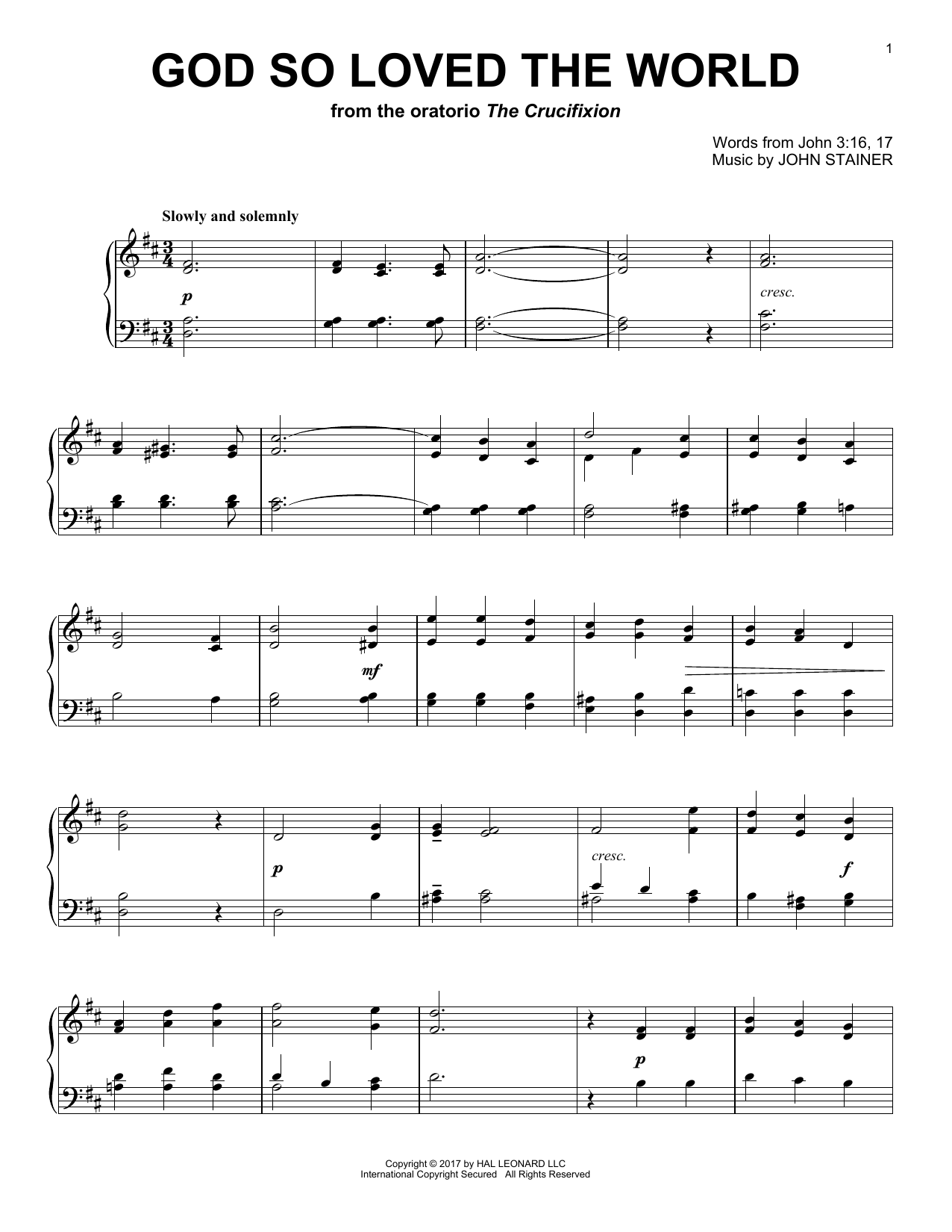 Sir John Stainer God So Loved The World sheet music notes and chords. Download Printable PDF.