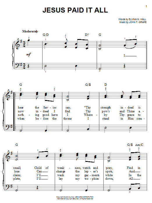 John T. Grape Jesus Paid It All sheet music notes and chords. Download Printable PDF.