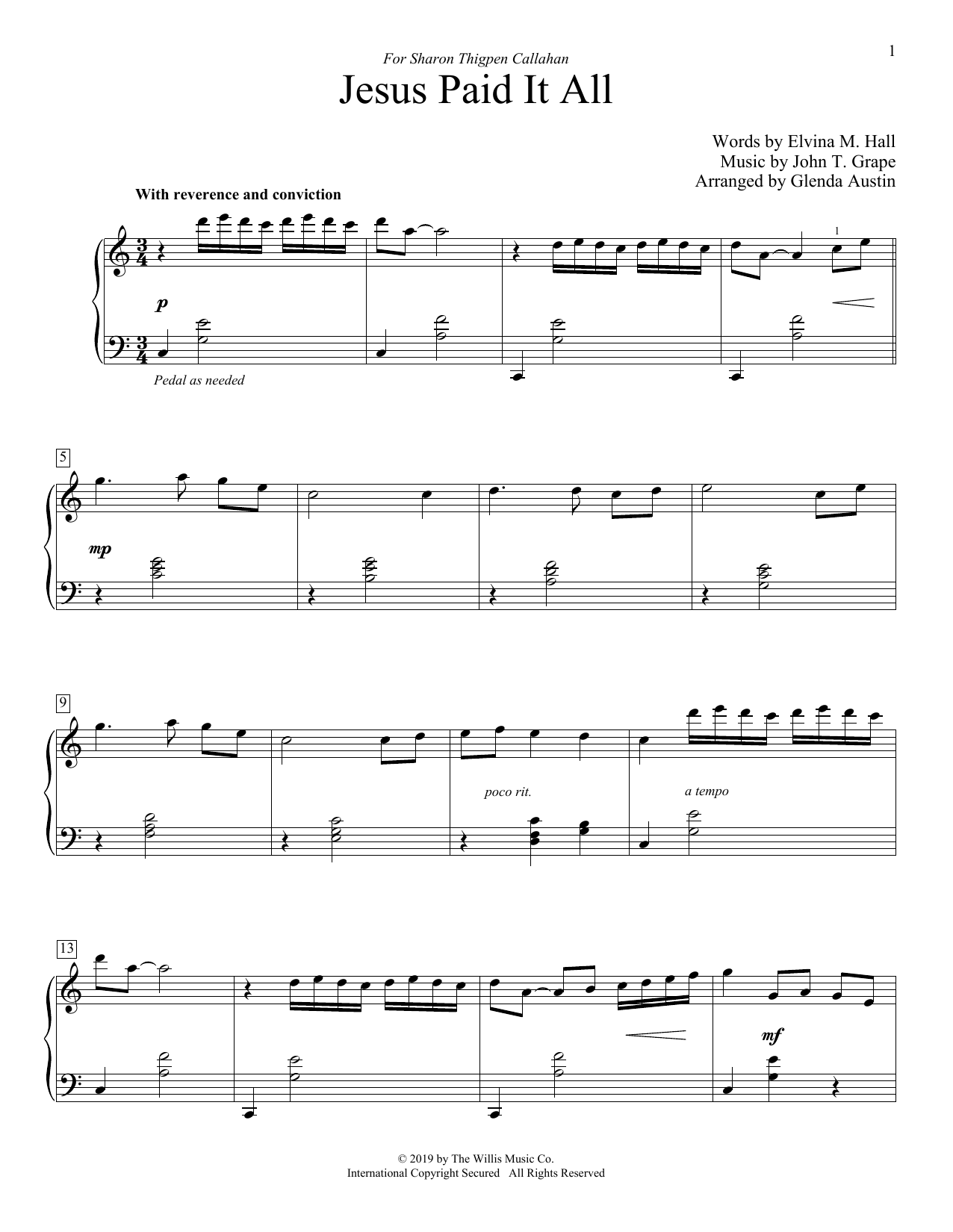 John T. Grape Jesus Paid It All (arr. Glenda Austin) sheet music notes and chords