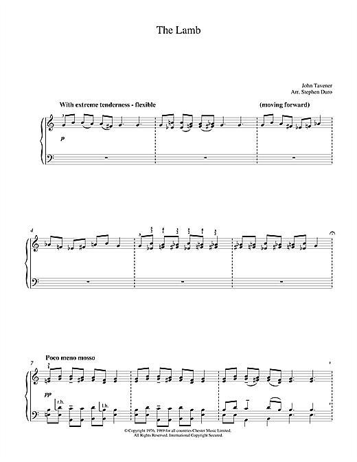 John Tavener The Lamb sheet music notes and chords