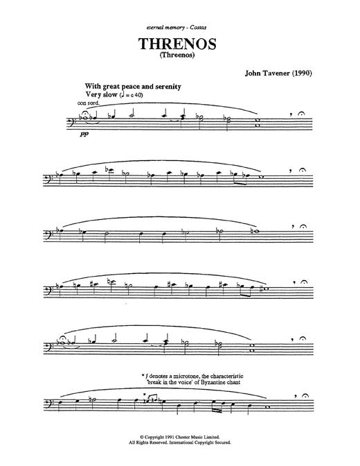 John Tavener Thrinos sheet music notes and chords. Download Printable PDF.