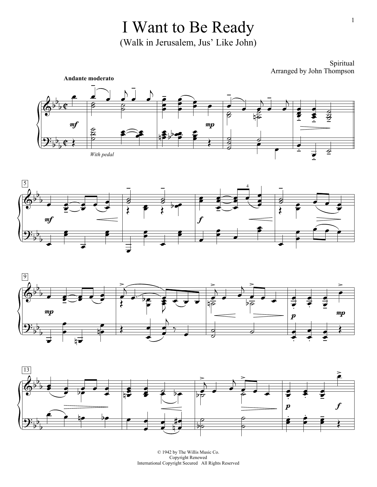 John Thompson I Want To Be Ready (Walk In Jerusalem, Jus' Like John) sheet music notes and chords