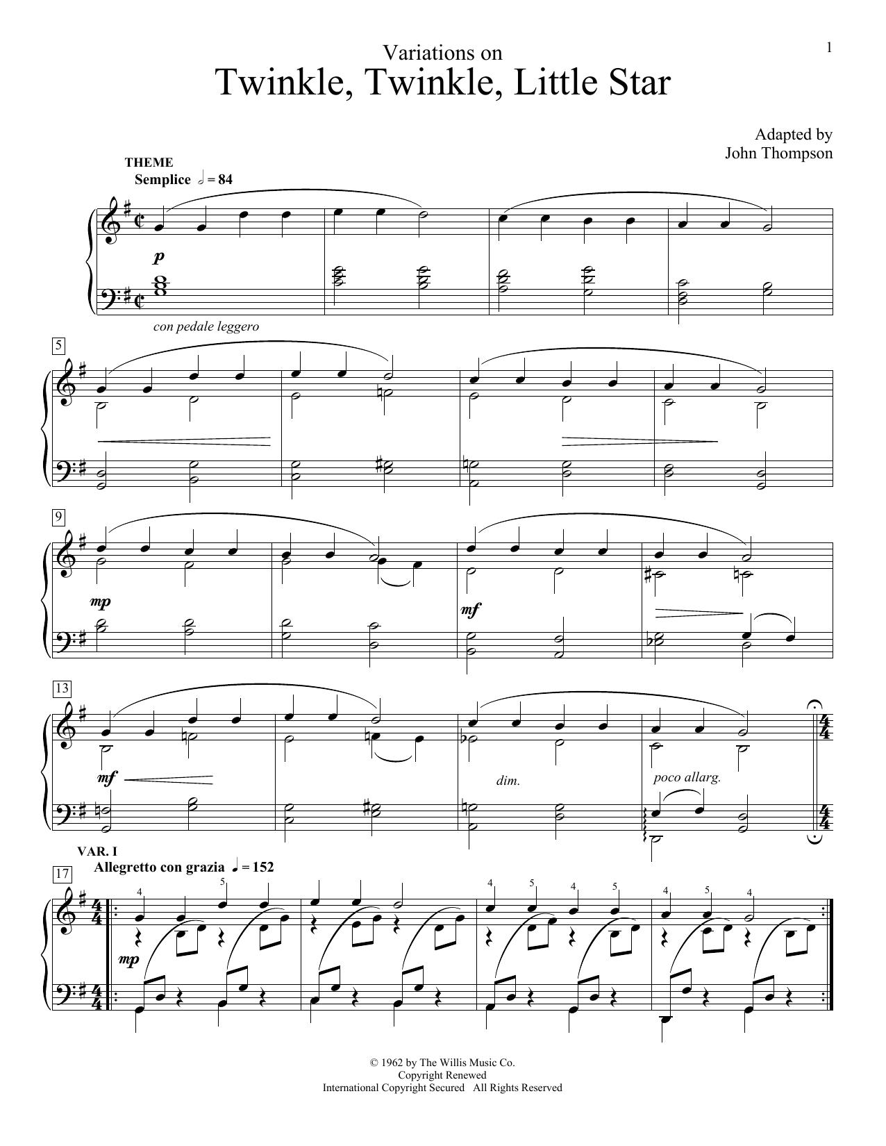 Game Of Thrones Titelmusik Klaviernoten john thompson 'variations on twinkle, twinkle, little star' sheet music  notes, chords | download printable educational piano - sku: 160640