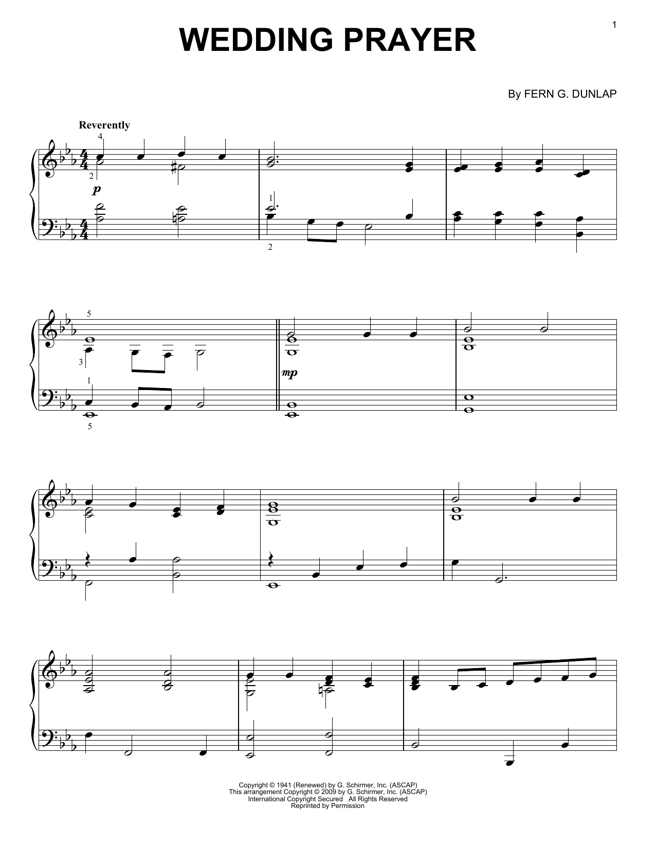 John Waller Wedding Prayer sheet music notes and chords