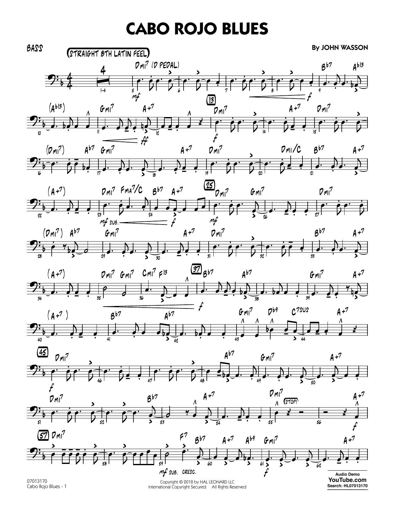 John Wasson Cabo Rojo Blues - Bass sheet music notes and chords. Download Printable PDF.