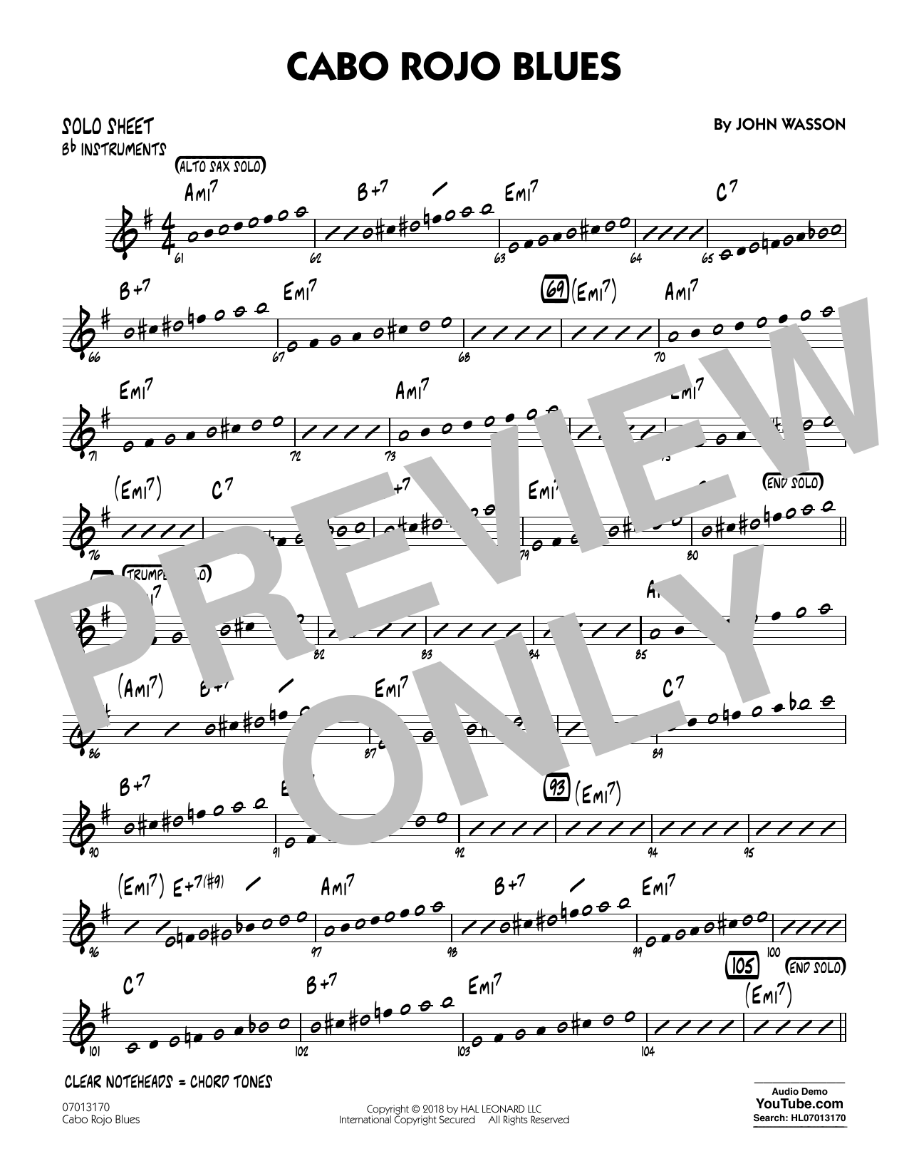 John Wasson Cabo Rojo Blues - Bb Solo Sheet sheet music notes and chords. Download Printable PDF.