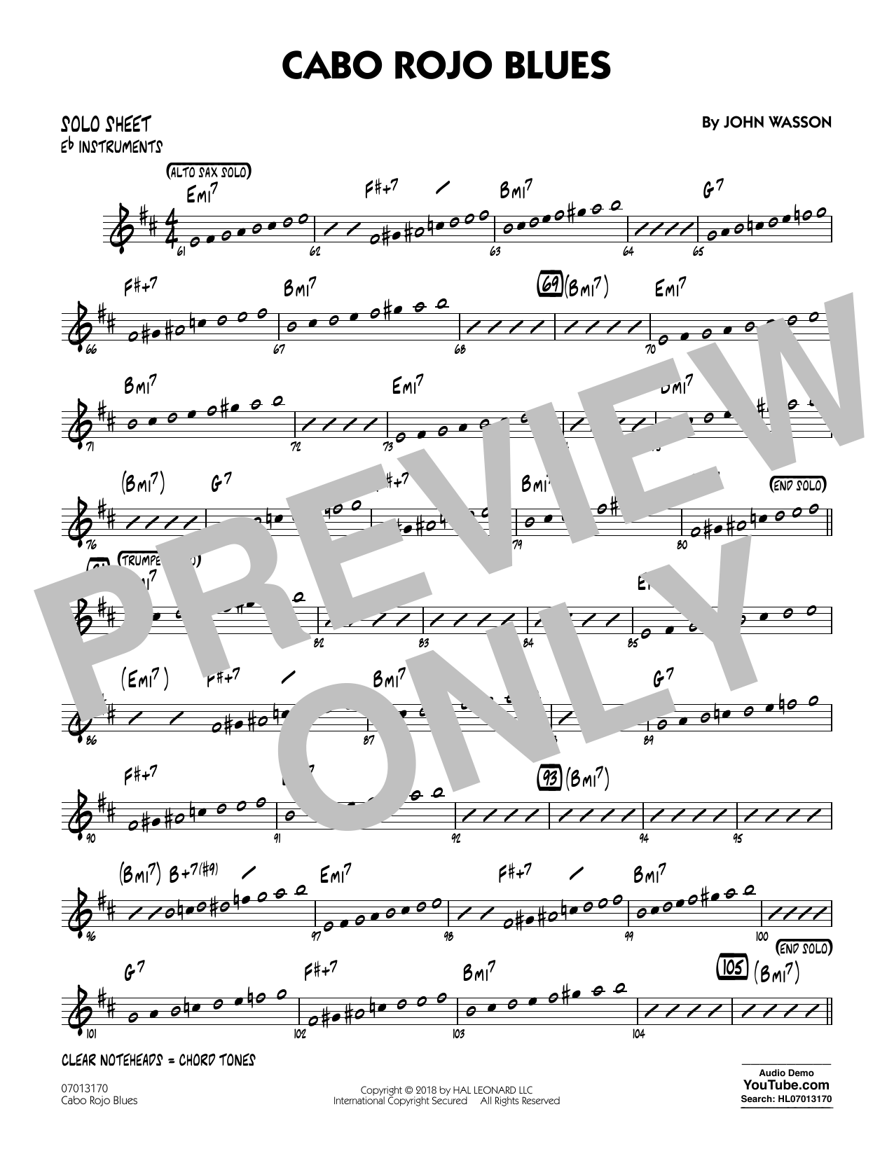 John Wasson Cabo Rojo Blues - Eb Solo Sheet sheet music notes and chords. Download Printable PDF.