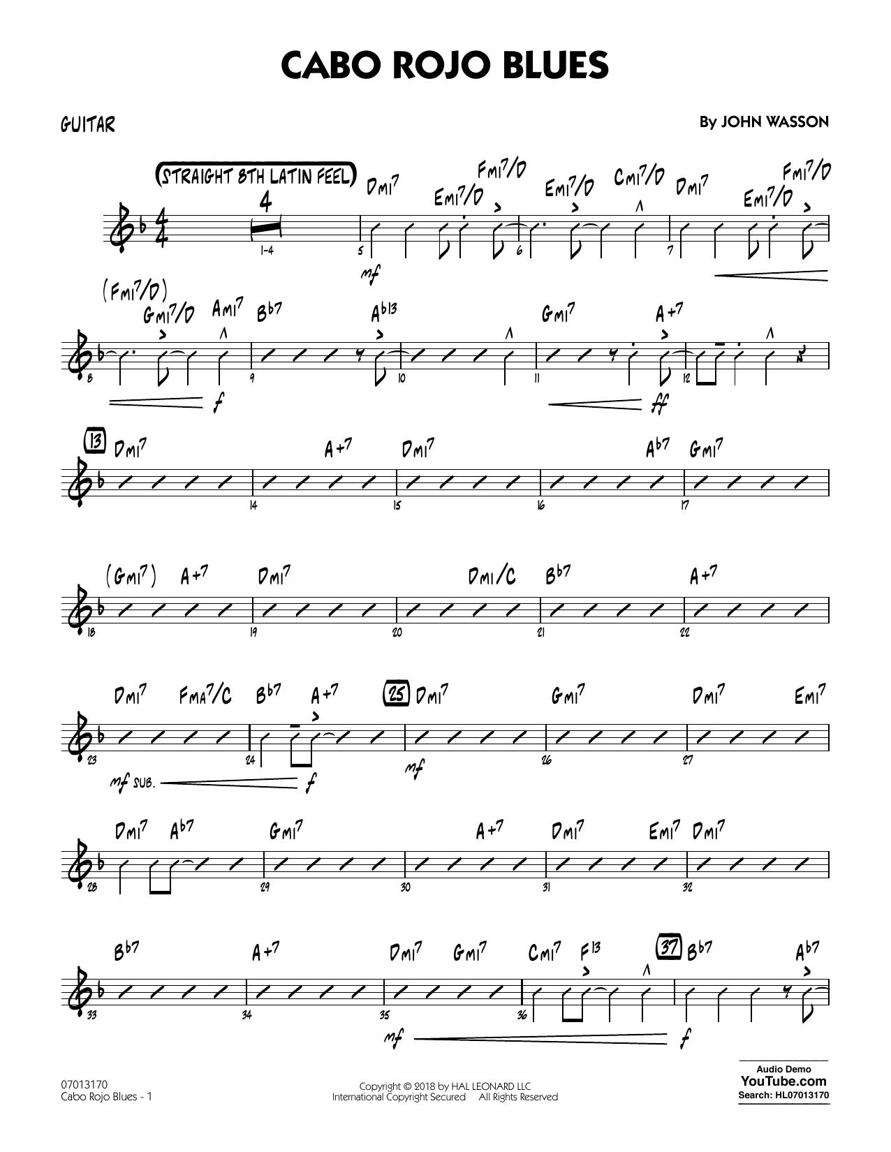 John Wasson Cabo Rojo Blues - Guitar sheet music notes and chords. Download Printable PDF.