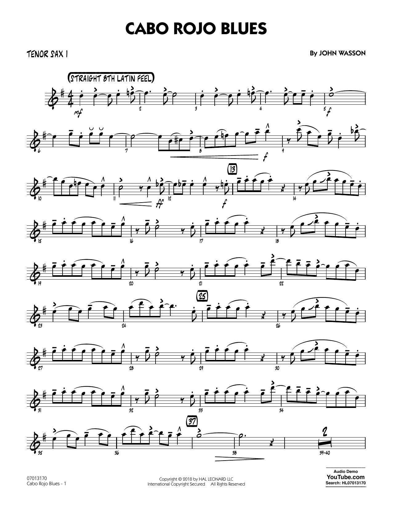 John Wasson Cabo Rojo Blues - Tenor Sax 1 sheet music notes and chords. Download Printable PDF.