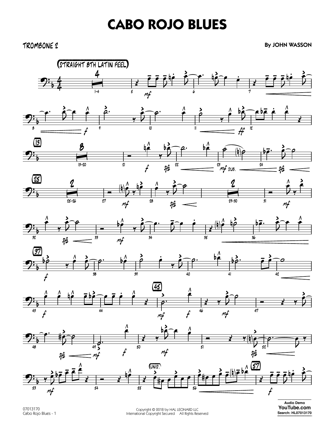John Wasson Cabo Rojo Blues - Trombone 2 sheet music notes and chords. Download Printable PDF.