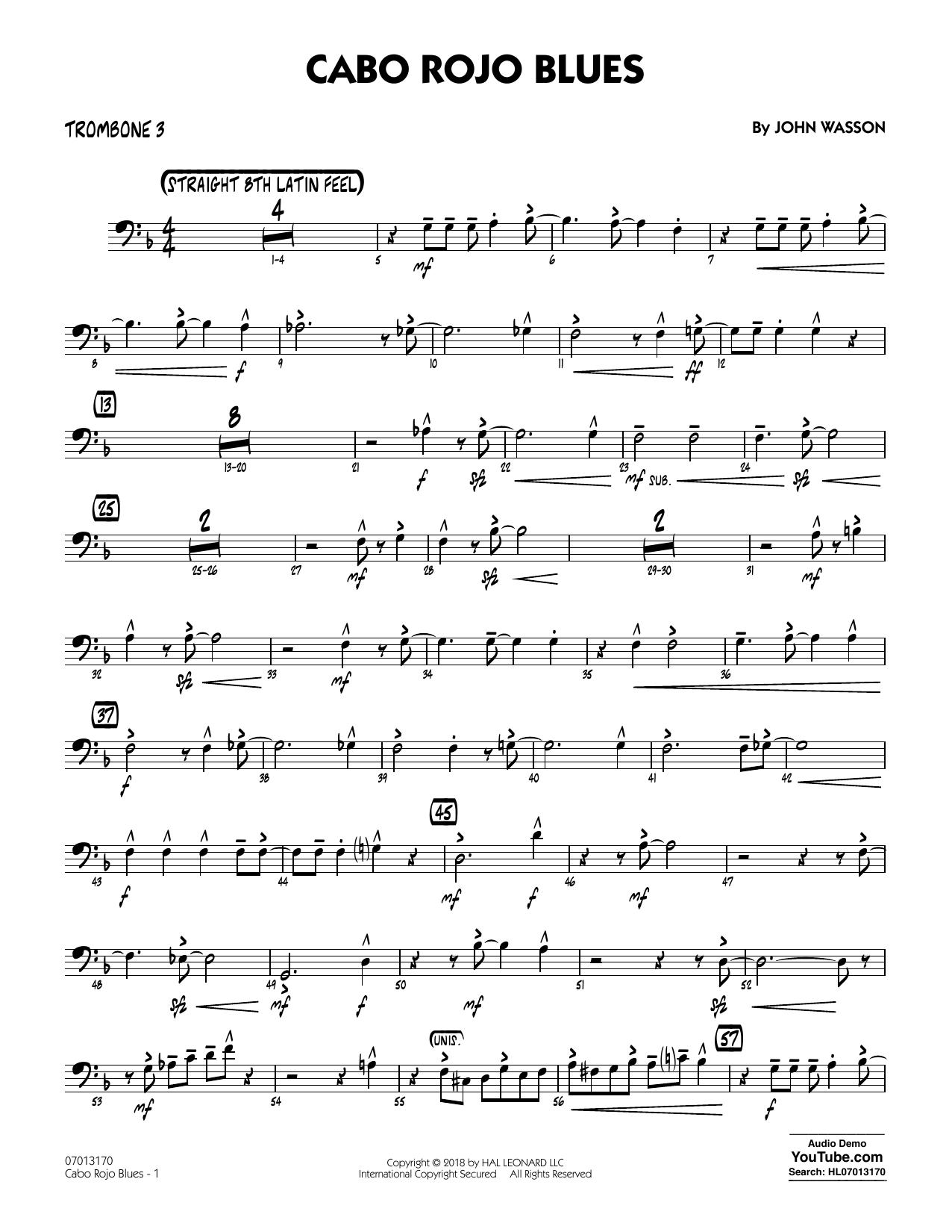 John Wasson Cabo Rojo Blues - Trombone 3 sheet music notes and chords. Download Printable PDF.