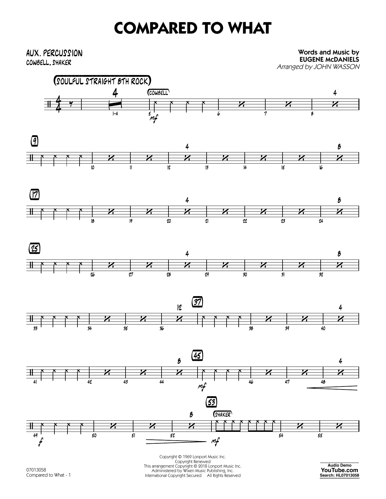 John Wasson Compared To What - Aux Percussion sheet music notes and chords. Download Printable PDF.