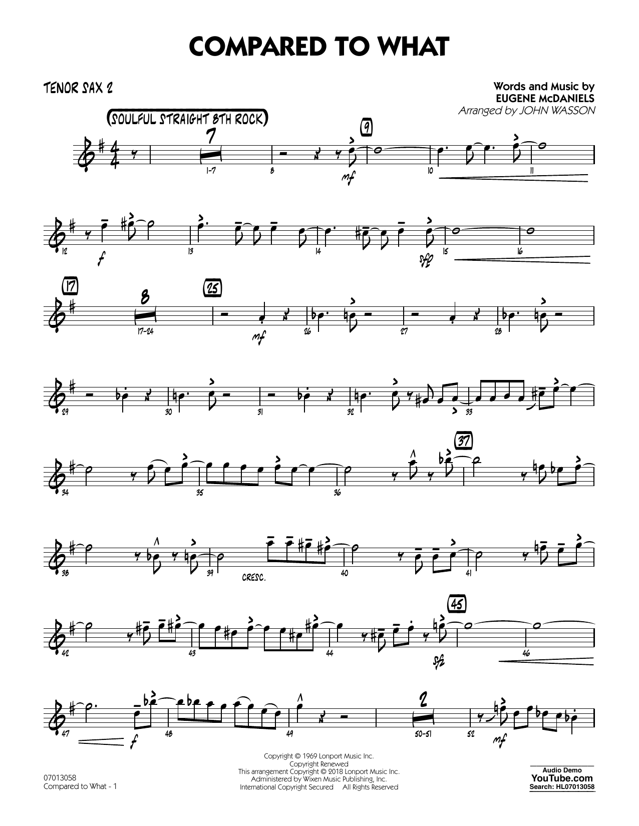 John Wasson Compared To What - Tenor Sax 2 sheet music notes and chords. Download Printable PDF.