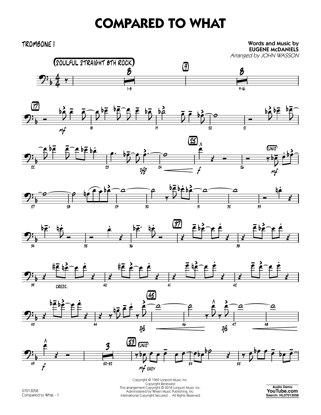 John Wasson Compared To What - Trombone 1 sheet music notes and chords. Download Printable PDF.