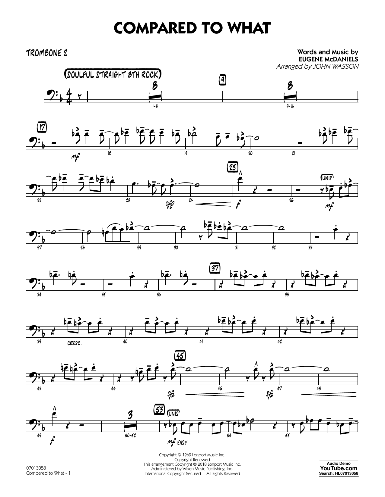 John Wasson Compared To What - Trombone 2 sheet music notes and chords. Download Printable PDF.