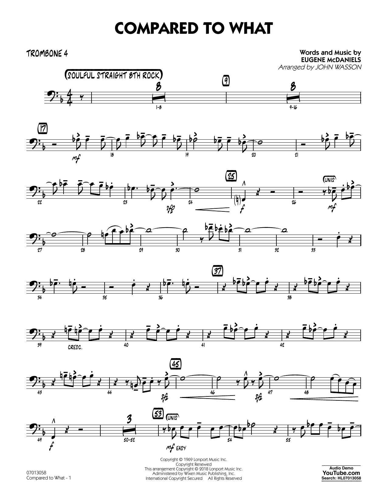 John Wasson Compared To What - Trombone 4 sheet music notes and chords. Download Printable PDF.